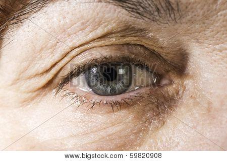 Close Up Old Women Eye