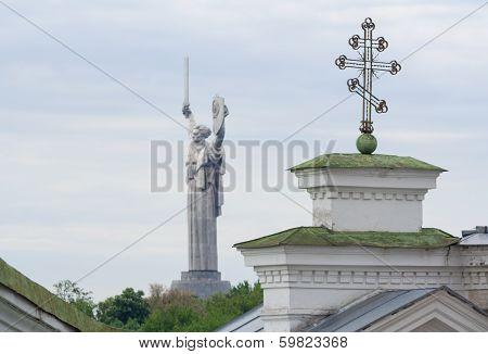 Motherland Monument And Cross Of Kievo-pecherskaya Church