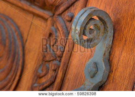 Old Wooden Gate, Iron Handle Fragment
