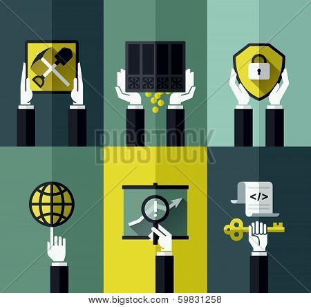 Digital Currency Modern Flat Design Concept. Vector Design Elements