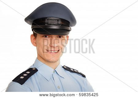 Portrait of young smiling policeman