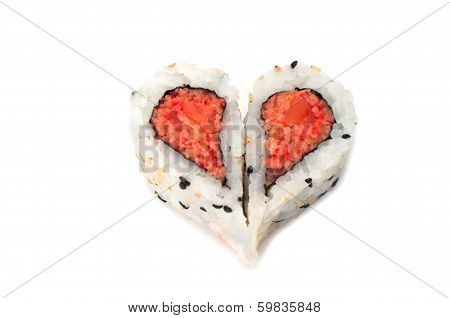 Sushi Forming Heart Shape On White Background