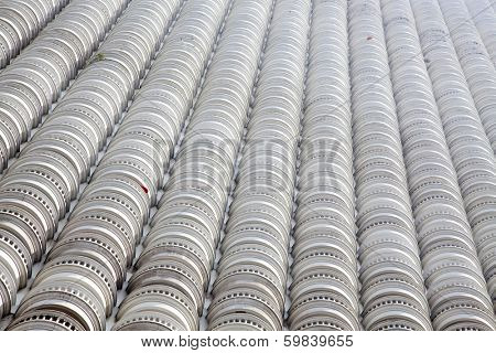 Abstract photo of balconies of the state tower, built in 2001, Bangkok, Thailand