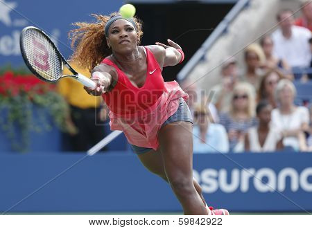 Grand Slam champion Serena Williams during fourth round match at US Open 2013 against Sloane Stephen