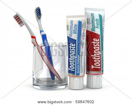 Dental protection, Toothpaste and toothbrushes on white isolated background. 3d poster