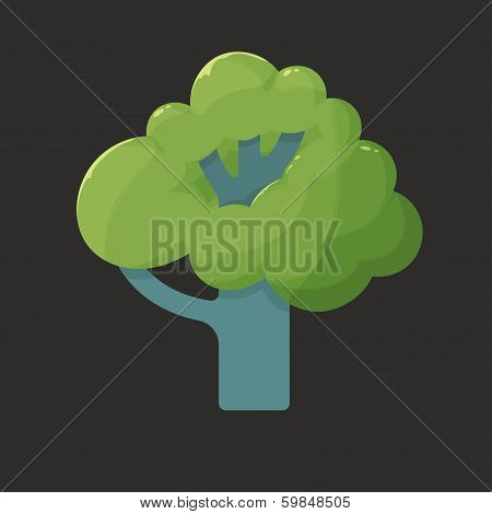 Flat icon illustration of a tree in summer