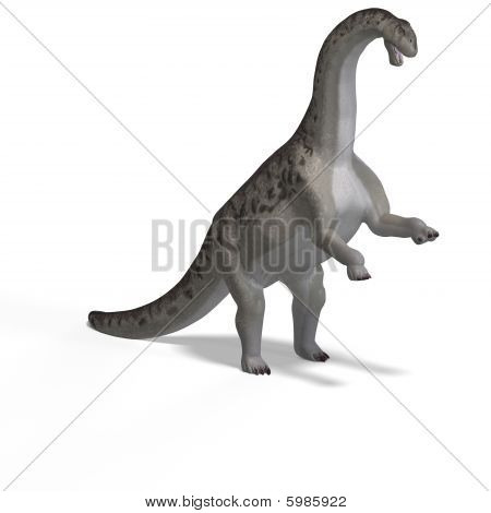 giant dinosaur camasaurus With Clipping Path over white poster