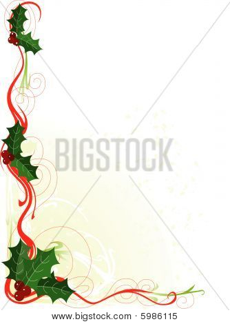 A border or frame with Christmas holly and scrolls poster