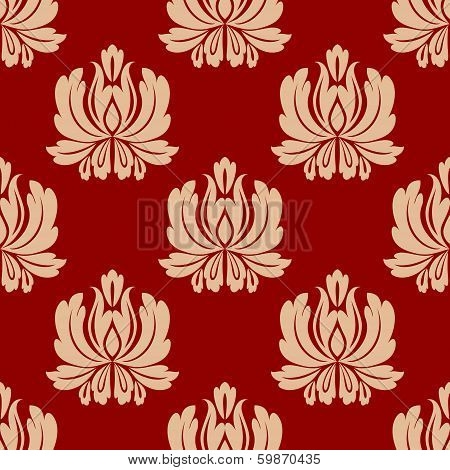 Damask style repeat floral design in a seamless arabesque pattern on a red background in square format poster