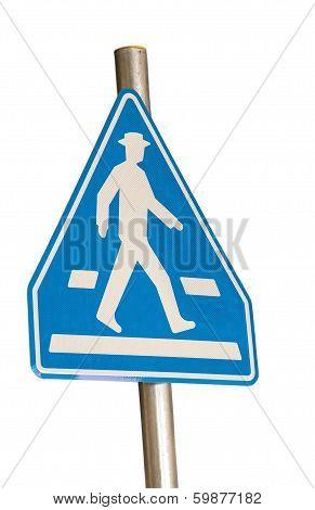 Pedestrian Blue Traffic Sign