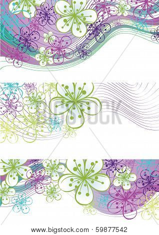 Spring Flowers And Wavy Line Borders