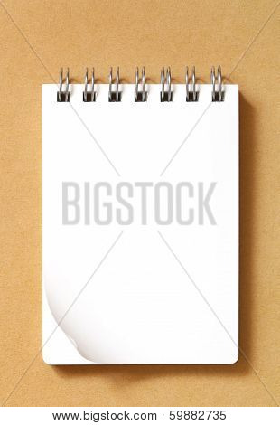 Blank notebook on recycle paper background