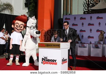LOS ANGELES - FEB 14:  Sherman, Mr Peabody, Max Charles, Ty Burrell at the Mr. Peabody honored with Pawprints in Cement at TCL Chinese Theater on February 14, 2014 in Los Angeles, CA