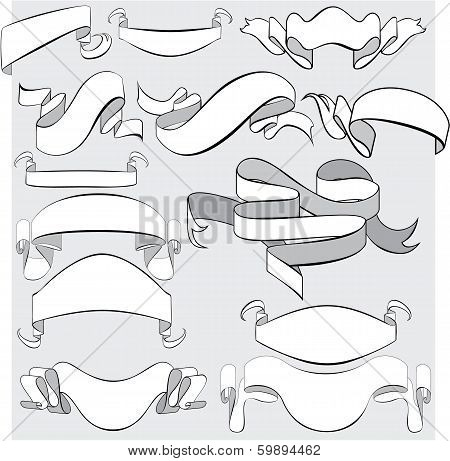 Medieval Abstract Ribbons, Crolls, Banners - Set For Heraldry Design Elements.