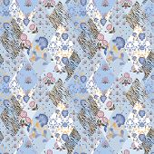 Patchwork seamless pattern texture elements blue background poster