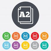 Paper size A2 standard icon. File document symbol. Round colourful 11 buttons. Vector poster