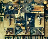Creative abstract conceptual collage of several antique elements including a crucifix and skull with overall vintage toning poster