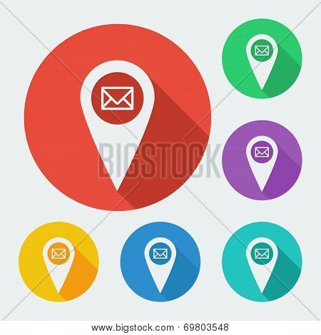 Map pointer icon with long shadow - geo tag vector web illustration, six colors set.