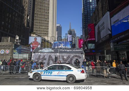 NYPD police officers ready to protect public on Times Square during Super Bowl XLVIII week in Manhat