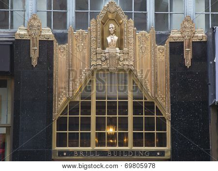 Facade at the Brill Building in Manhattan