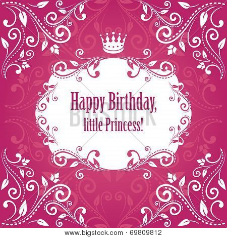 birthday cute bright pink purple damask background.