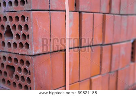 Close-up Of The Silicate Bricks Stack