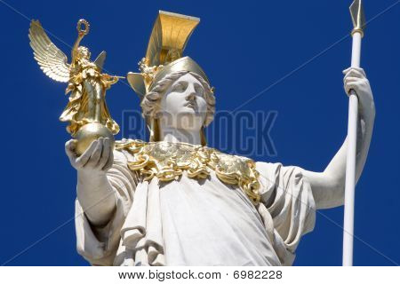 detail of athena fountain - vienna parliament