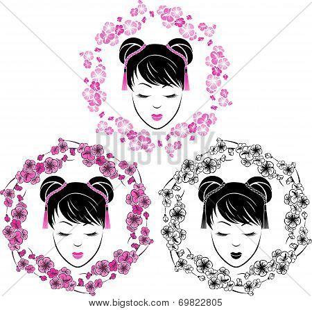Sakura wreath with a portrait of Asian girl