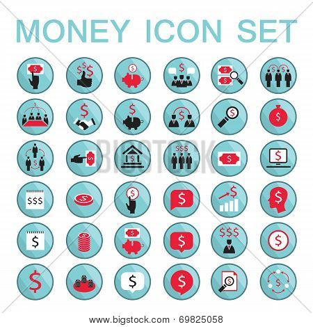 Set Icons Business Success Saving Earning Money