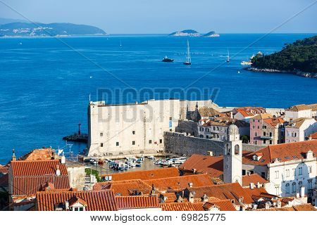 Beautiful Dubrovnik city in Croatia seen from the top in a blue sky day.