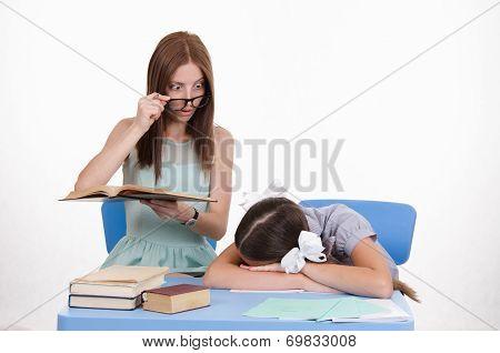 The Teacher Sees Sleeping Student