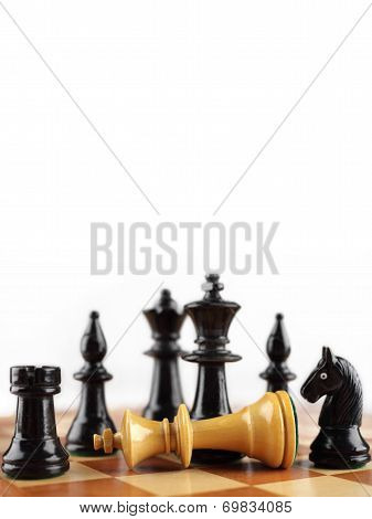 Chess concept. Checkmate the white king. Background with free text space.