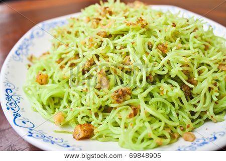 Stir Fried Noodles with Pork Rind Stock Photo poster