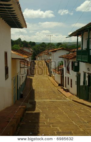 Street Of Barichara In Colombia