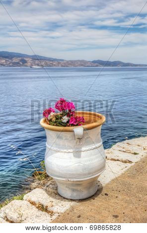 Flower Pot Over Aegean Sea In Greece