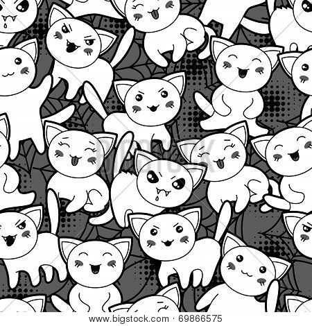 Seamless halloween kawaii cartoon pattern with cute cats. poster