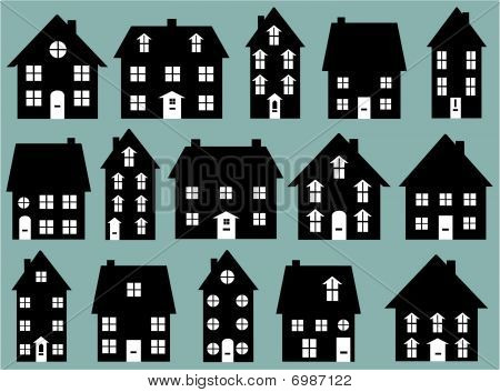 Collection of Black & White House Icons Vector Illustration