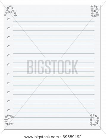 Notebook Paper With Letters A B C D In Corner Composed Of Autumn Maple Leafs
