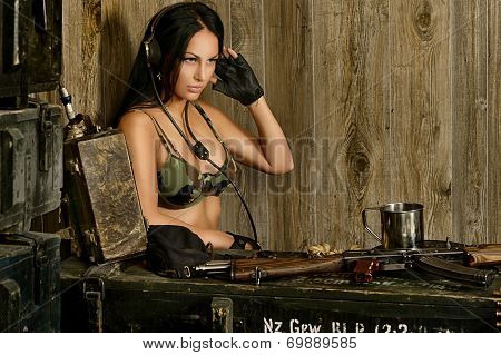 Sexy brunette woman listening radio set