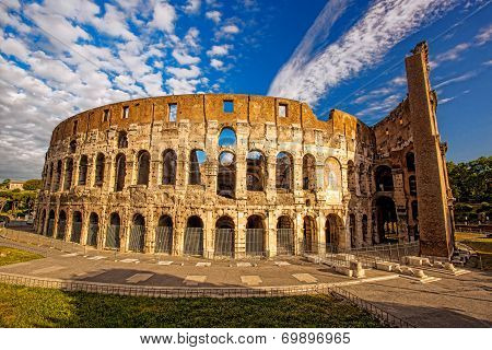 Famous landmark, old Colosseum in Rome, Italy poster