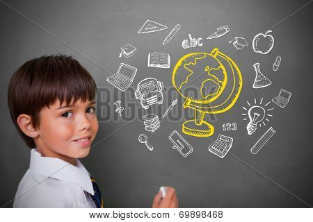 Cute pupil with chalkboard with education doodles