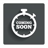 Coming soon sign icon. Promotion announcement symbol. Gray flat button with shadow. Modern UI website navigation. Vector poster