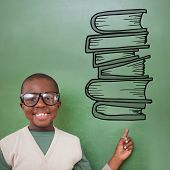 Cute pupil pointing against stack of books doodle poster