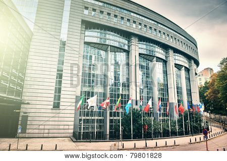 Flags In Front Of European Parliament Building. Brussels, Belgium