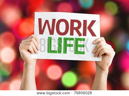 Work Life card with colorful background with defocused lights