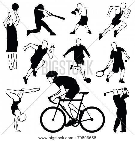 Set of sports icons: basketball, football, baseball, boxing, running, tennis, soccer, gymnastics, golf, biker