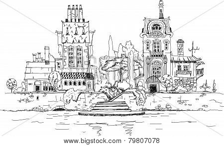 City on the river, sketch illustration