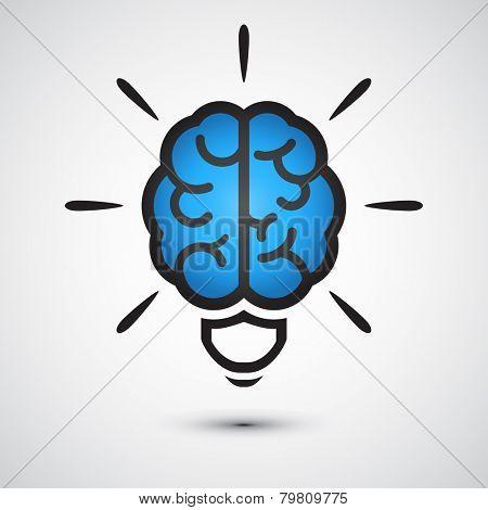 Brain Light bulb icon. Idea