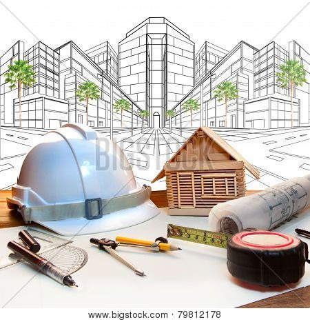 Architect Working Table And Two Point Perspective Modern Building Plan Use For Construction Engineer