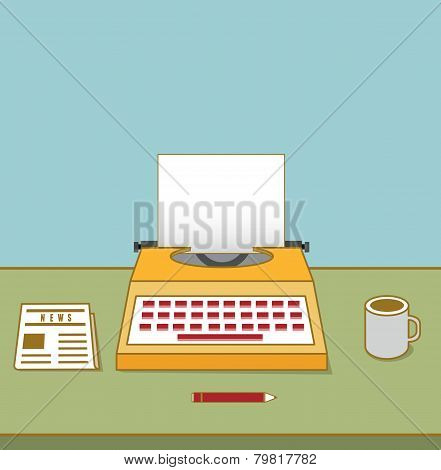 Vintage Typewriter On The Table With Copyspace For Text. Equipment For Blog